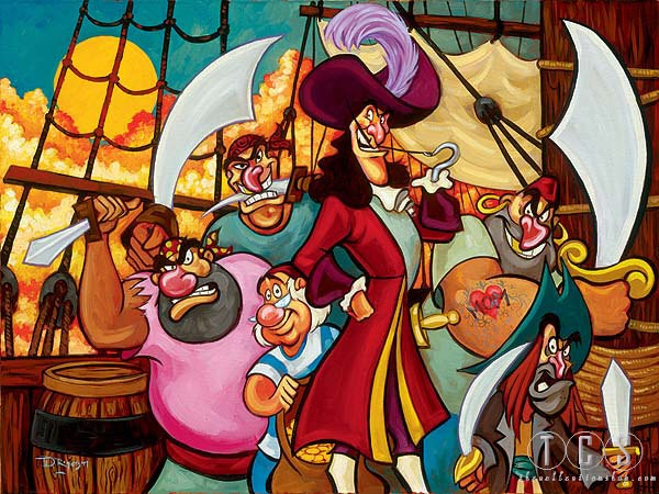 Tim Rogerson Captain Hook And Gang - From Disney Pirates of the Caribbean Giclee On Canvas