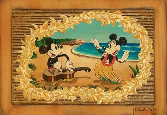 Trevor CarltonHula In Paradise Mickey And MinnieGiclee On Canvas