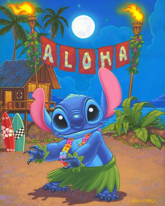Manuel Hernandez Hula Stitch - From Disney Lilo and Stitch Hand-Embellished Giclee on Canvas