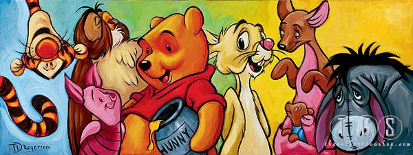 Tim Rogerson Hundred Acre Friends - From Disney Winnie the Pooh Giclee On Canvas