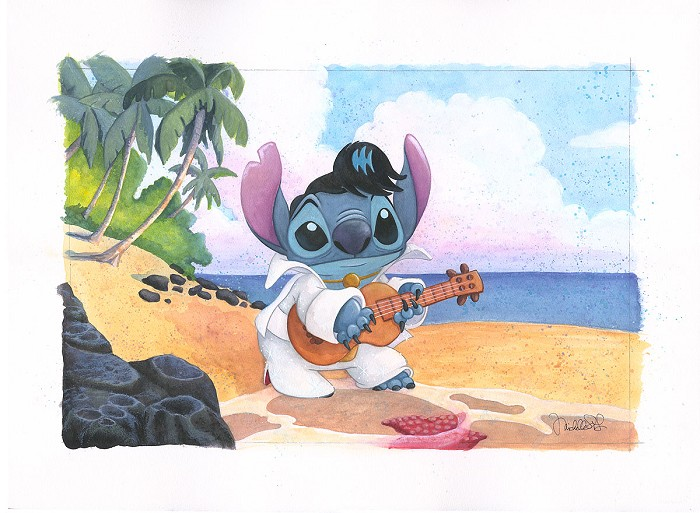 Michelle St Laurent Island King From Disney Lilo And Stitch Custom Framed Original Watercolor on Paper