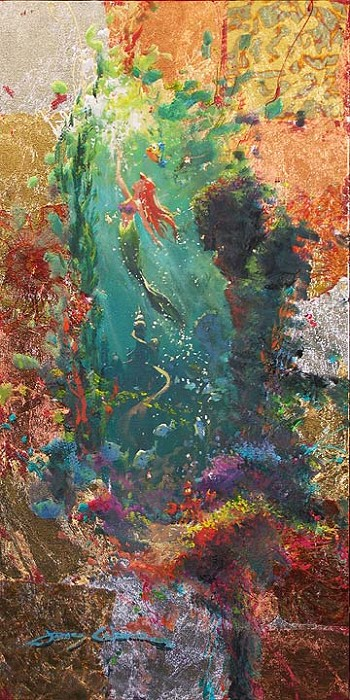 James Coleman Treasures Untold Hand-Applied Gold Leaf on Canvas - From Disney The Little Mermaid Giclee On Canvas
