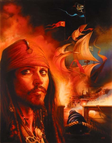 John Rowe Captain Jack And The Flying Dutchman Original - From Disney Pirates of the Caribbean