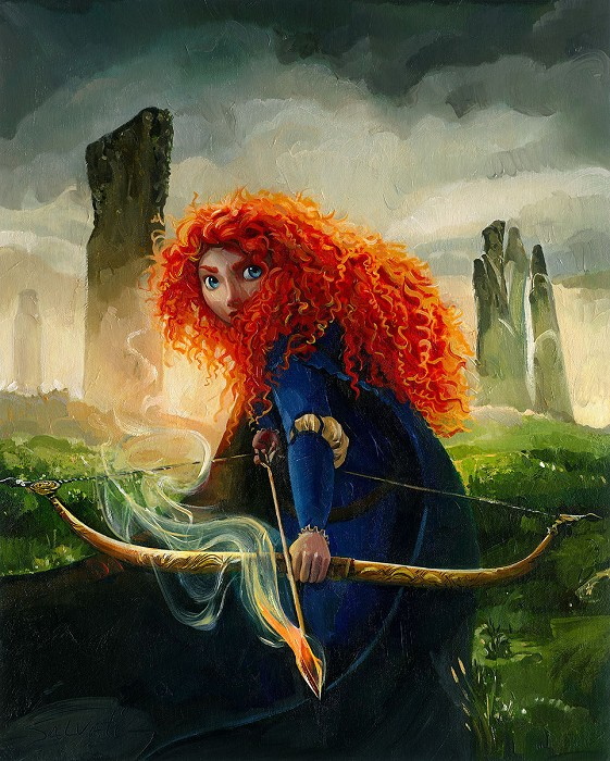 Jim Salvati Brave Merida Deluxe Hand Textured Giclee on Canvas