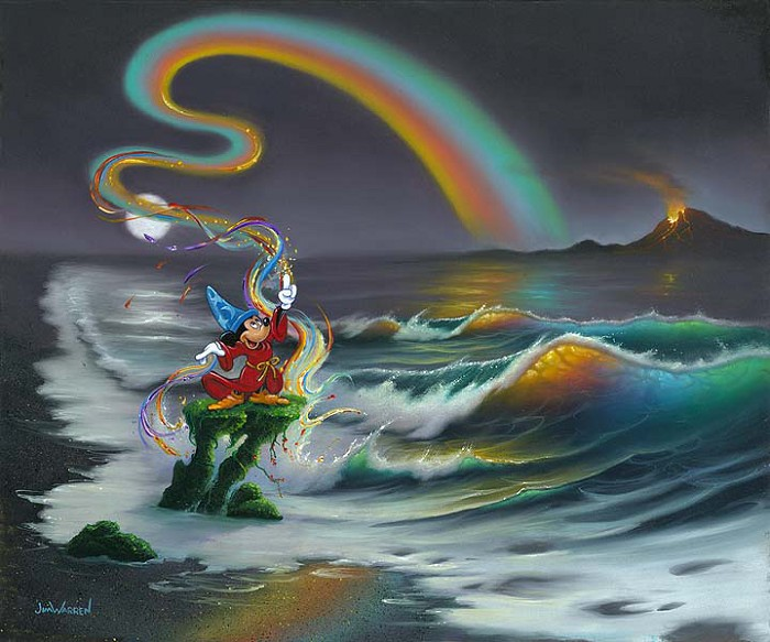 Jim Warren Mickey Colors the World Hand-Embellished Giclee on Canvas