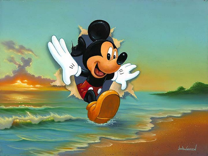 Jim Warren Mickeys Grand Entrance Hand-Embellished Giclee on Canvas