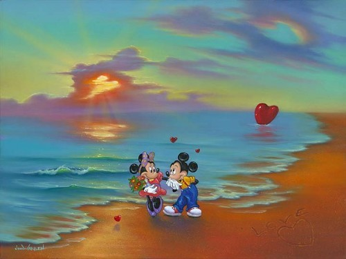 Jim Warren Mickey And Minnies Romantic Day Hand-Embellished Giclee on Canvas