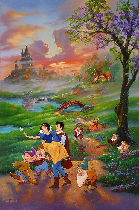 Jim Warren Snow Whites Romance Hand-Embellished Giclee on Canvas