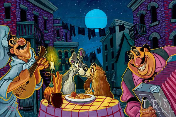 Tim Rogerson Lamour - From Disney Lady and The Tramp  Giclee On Canvas