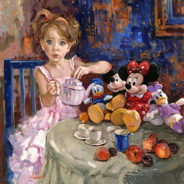 Irene Sheri Would You Like Some Tea? Hand-Embellished Giclee on Canvas