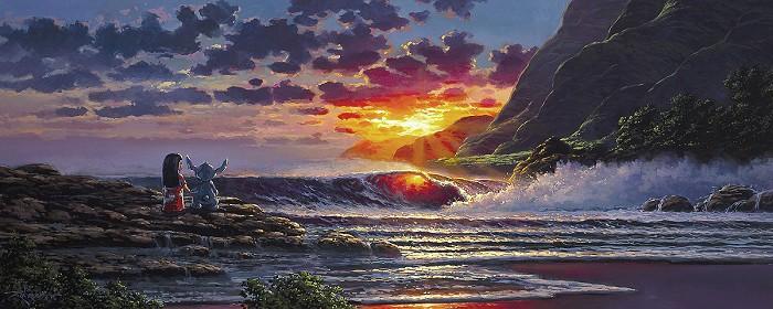 Rodel GonzalezLilo & Stitch Share a SunsetGiclee On Canvas