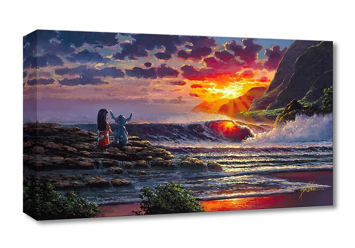 Rodel Gonzalez Lilo & Stitch Share a Sunset Gallery Wrapped Giclee On Canvas
