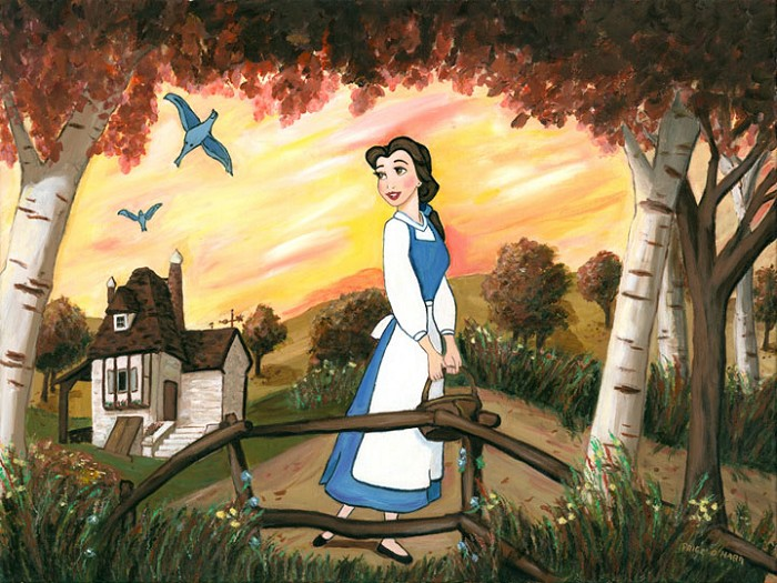 Paige O Hara Little Town - From Disney Beauty and The Beast Hand Embelleshed Giclee On Canvas