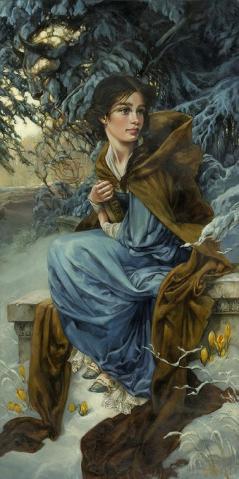 Heather Theurer Love Blooms in Winter Hand-Embellished Giclee on Canvas
