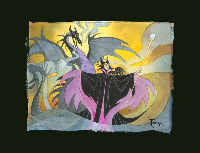 Toby Bluth Maleficent - From Disney Sleeping Beauty Hand Deckled Giclee On Paper