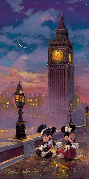 James ColemanMickey and Minnie in London Deluxe Edition Hand-Embellished Giclee on Canvas