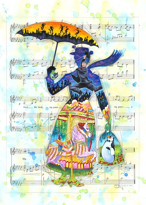 Tim Rogerson A Mary Tune - From Disney Mary Poppins Giclee On Canvas