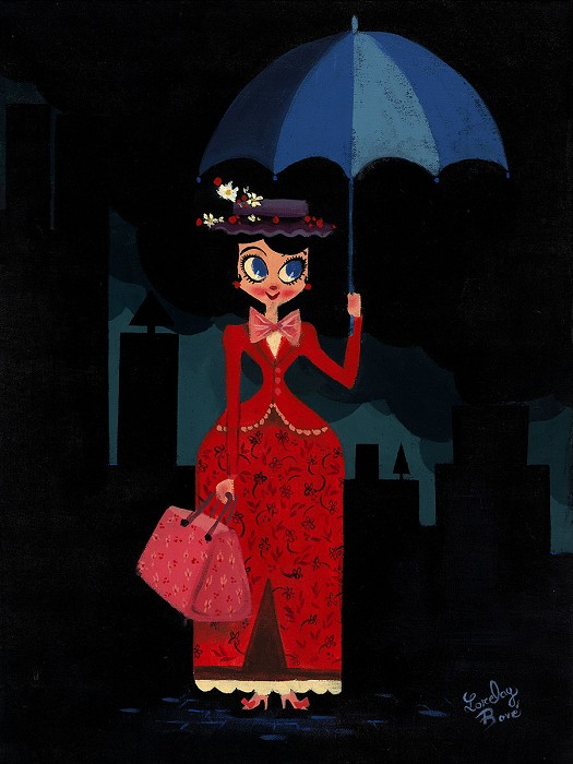 Lorelay Bove Mary's Umbrella From Disney Mary Poppns Original Acylic on Canvas