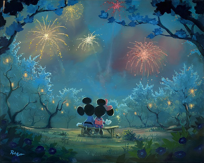 Rob Kaz Memories of Summer Mickey and MinnieHand-Embellished Giclee on Canvas