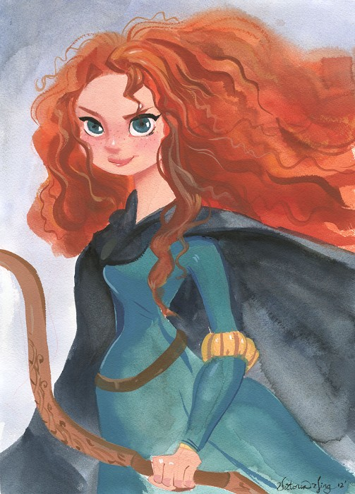 Victoria Ying Merida From Disney Brave Original Gouacha on Paper