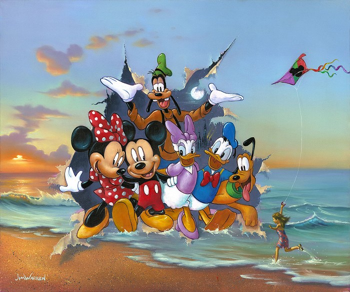 Jim Warren Mickey and the Gang's Grand Entrance Hand-Embellished Giclee on Canvas