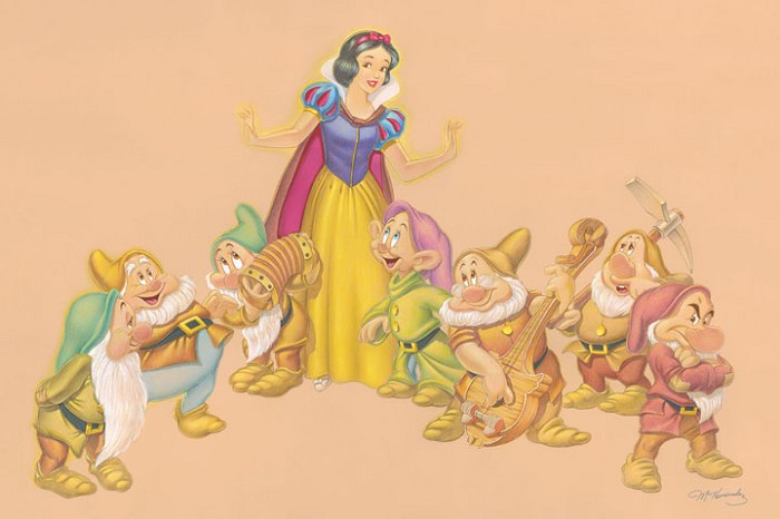 Manuel Hernandez A Song and a Dance  - From Disney Snow White and the Seven Dwarfs Giclee On Canvas