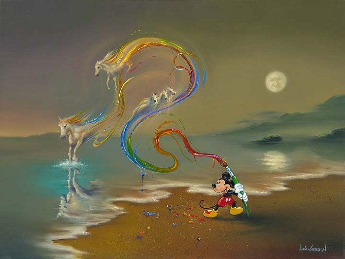 Jim Warren Mickey the Artist Hand-Embellished Giclee on Canvas