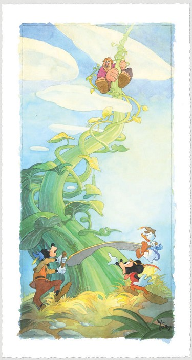 Toby Bluth Mickey and the Beanstalk Hand Deckled Giclee On Paper