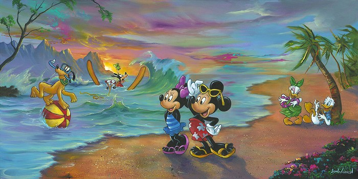Jim Warren Mickey and the Gang's Hawaiian Vacation Hand-Embellished Giclee on Canvas