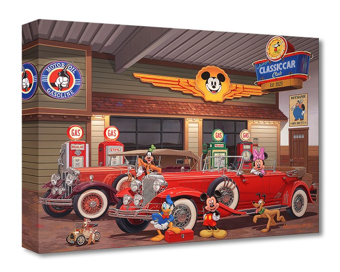 Manuel Hernandez Mickey's Classic Car Club Gallery Wrapped Giclee On Canvas