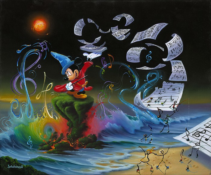 Jim Warren Mickey the Composer - From Disney Fantasia Giclee On Canvas