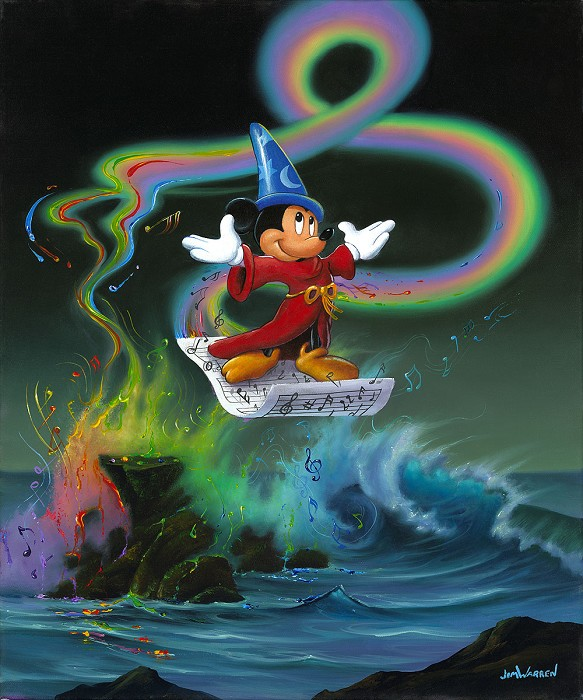 Jim Warren Mickey Making Magic - From Disney Fantasia Giclee On Canvas