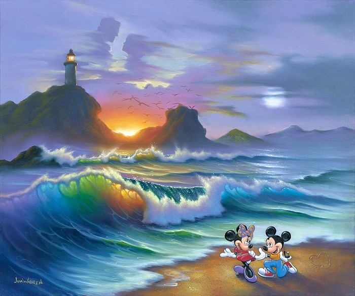 Jim Warren Mickey Proposes to Minnie Giclee On Canvas