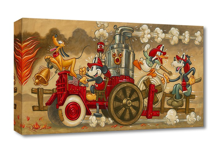 Tim Rogerson Mickey's Fire Brigade Gallery Wrapped Giclee On Canvas