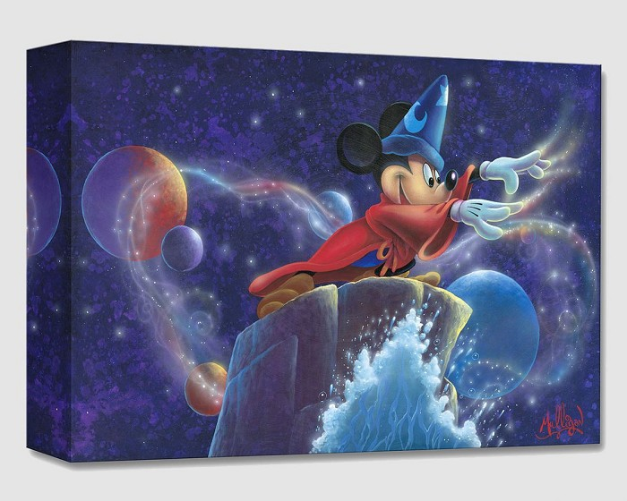 James C Mulligan Mickey's Magic From Fantasia Gallery Wrapped Giclee On Canvas