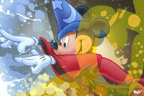 Arcy Mickey Sorcerer From Fantasia Hand-Embellished Giclee on Canvas