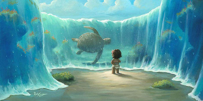 Rob Kaz  Moana's New Friend Hand-Embellished Giclee on Canvas