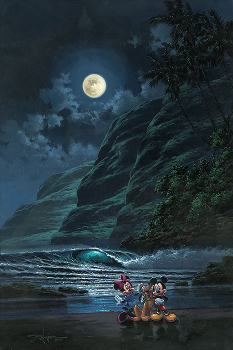 Rodel GonzalezMoonlit Portrait Mickey Minne and PlutoOriginal Acrylic on Canvas