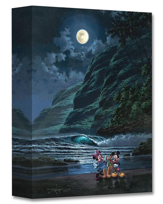 Rodel Gonzalez Moonlit Portrait Mickey Minne and Pluto Gallery Wrapped Giclee On Canvas