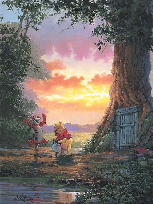 Rodel Gonzalez Good Morning Pooh - From Disney Winnie the Pooh Hand-Embellished Giclee on Canvas