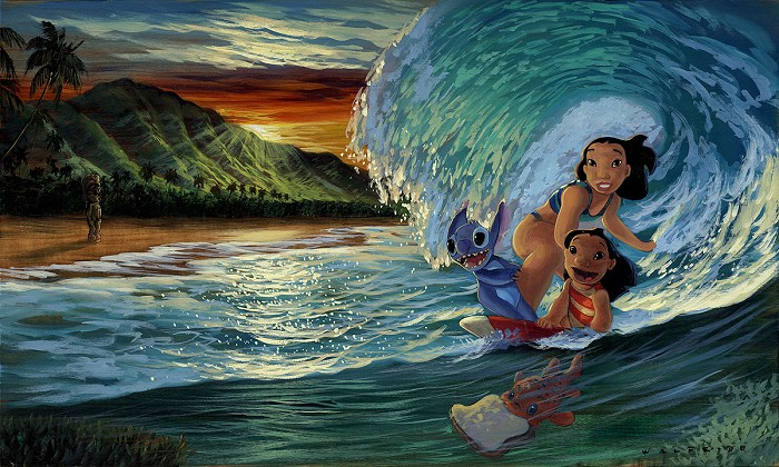Walfrido GarciaMorning Surf From Lilo and StitchHand-Embellished Giclee on Canvas