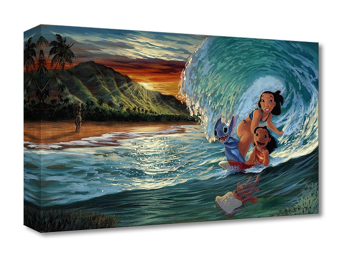 Walfrido Garcia Morning Surf From Lilo and Stitch Gallery Wrapped Giclee On Canvas