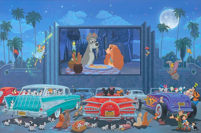 Manuel Hernandez A Night at the Movies - From Disney Lady and The Tramp  Hand-Embellished Giclee on Canvas