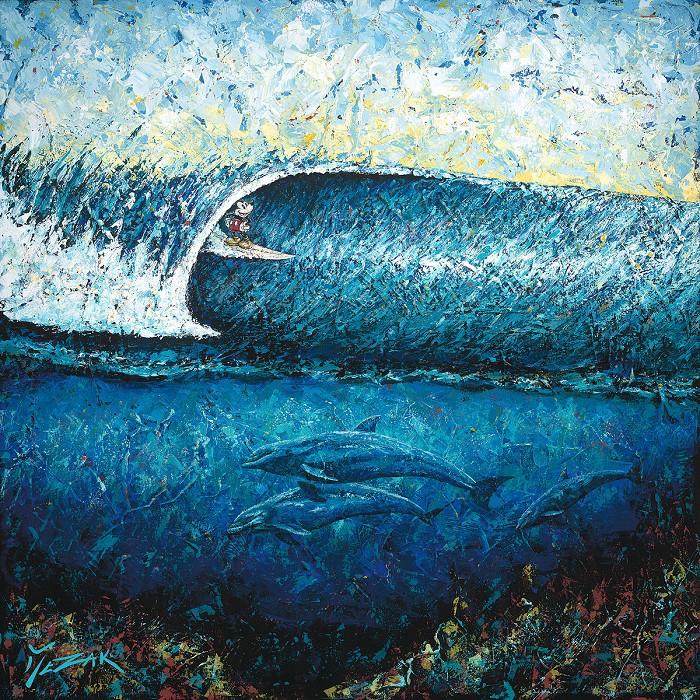 Trevor MezakMickey Surfs PipelineHand-Embellished Giclee on Canvas