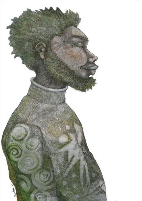 Charles Bibbs Man With Green Hair Giclee On Paper Artist Proof