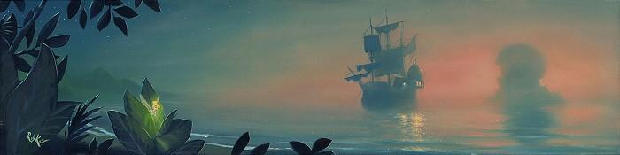 Rob Kaz Neverland LagoonHand-Embellished Giclee on Canvas