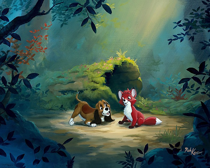 Rob Kaz New Found Friend in the ForestHand-Embellished Giclee on Canvas