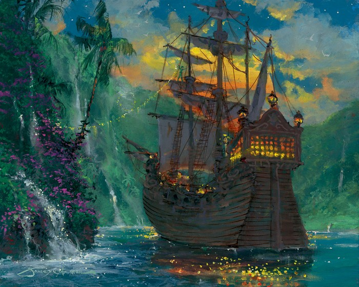 James Coleman Neverland Bay Hand-Embellished Giclee on Canvas