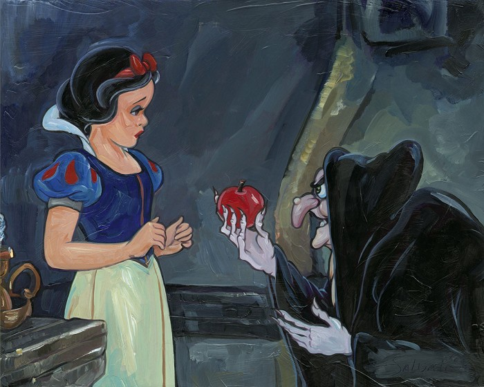Jim Salvati No Ordinary Apple - From Disney Snow White and the Seven Dwarfs Hand-Embellished Giclee on Canvas