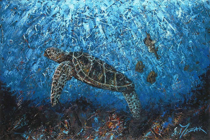 Trevor Mezak Jiminy and Honu Original Acrylic on Canvas